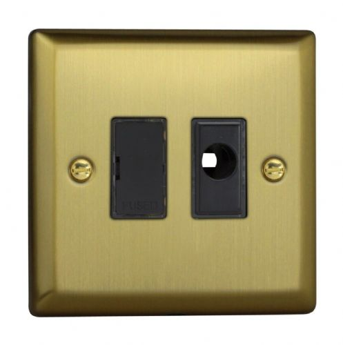Varilight XY6UFOB.BB Urban Brushed Brass 1 Gang 13A Unswitched Fused Spur + Flex Outlet